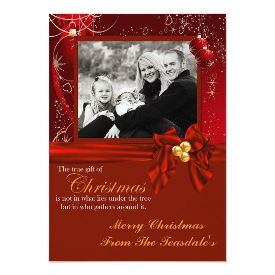 "El navidad adorna la tarjeta roja de la foto invitación 5"" x 7"""