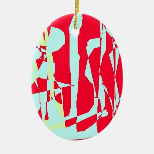El navidad adorna, óvalo, azul claro y rojo, adorno navideño ovalado de cerámica