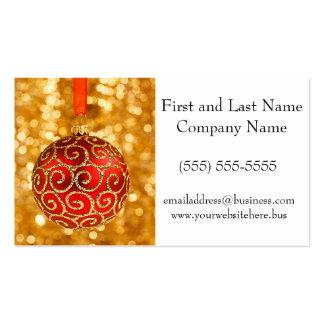 El navidad adorna rojo con las luces del centelleo tarjetas de visita