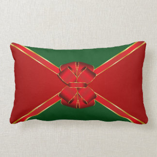 El navidad arquea rojo y verde cojín