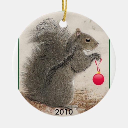 El navidad atesora 2010 adorno navideño redondo de cerámica