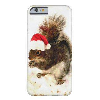El navidad atesora con el gorra de Santa en nieve Funda Para iPhone 6 Barely There