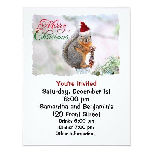 El navidad atesora el gorra de Papá Noel que lleva Invitación 10,8 X 13,9 Cm