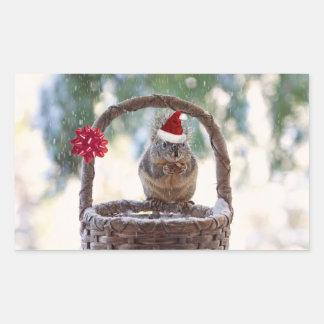 El navidad atesora en la nieve rectangular pegatinas