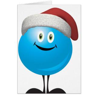 El navidad azul adorna llevar un gorra rojo de san tarjeta de felicitación