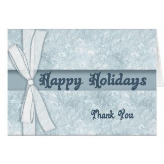 El navidad azul del copo de nieve le agradece card tarjeton