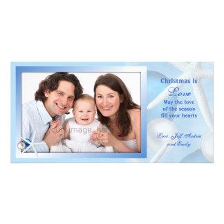 El navidad azul es tarjeta de la foto de las tarjeta personal con foto