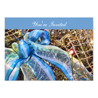 El navidad azul y de plata arquea la guirnalda de invitación 12,7 x 17,8 cm