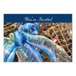 El navidad azul y de plata arquea la guirnalda de invitación 8,9 x 12,7 cm