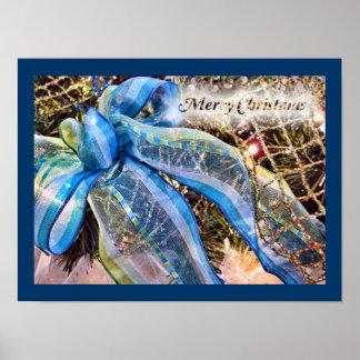El navidad azul y de plata arquea la guirnalda de  poster