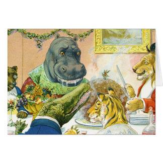El navidad banquetea en la tierra animal tarjeta de felicitación