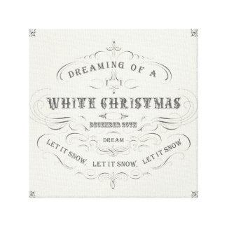 El navidad blanco del día de fiesta del vintage… e lona envuelta para galerias