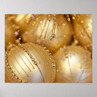 El navidad brillante brilló los ornamentos - oro impresiones