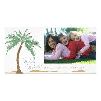 El navidad calienta los deseos, playa de la palmer tarjeta fotográfica