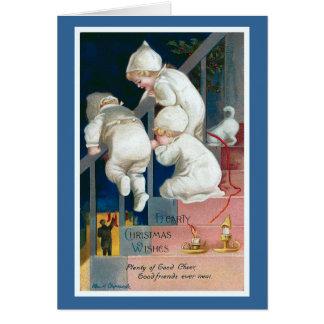 """El """"navidad caluroso desea"""" el vintage tarjeta de felicitación"""