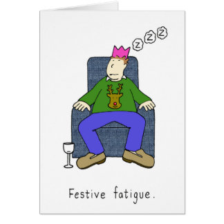 El navidad cansa, sirve dormido en su silla en tarjeta de felicitación
