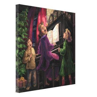 El navidad canta adelante impresiones en lona estiradas