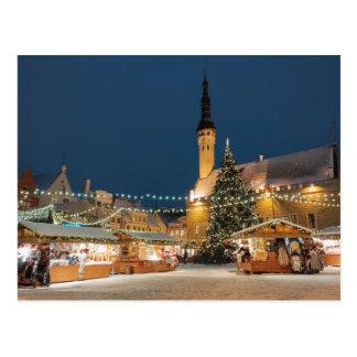 El navidad comercializa en la Tallinn, Estonia Tarjetas Postales