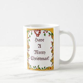 El navidad confina las hierbabuenas acebo coraz taza de café