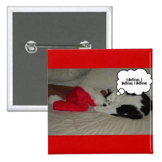 El navidad cree el gatito blanco y negro pin