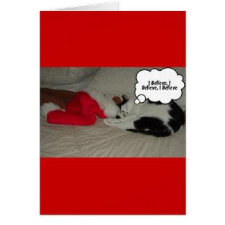 El navidad cree el gatito blanco y negro tarjeta de felicitación