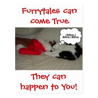 El navidad cree el gatito blanco y negro tarjeta postal
