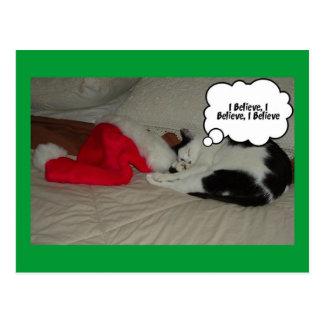 El navidad cree el gatito blanco y negro tarjetas postales
