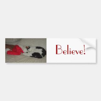 El navidad cree el gato del gatito pegatina de parachoque