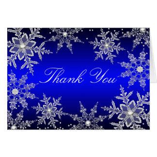 El navidad cristalino azul del copo de nieve le tarjeta pequeña