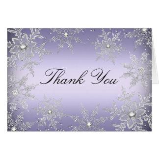 El navidad cristalino púrpura del copo de nieve le tarjeta pequeña