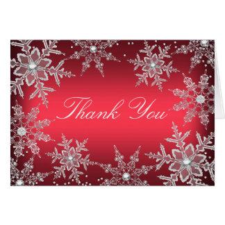 El navidad cristalino rojo del copo de nieve le tarjeta pequeña