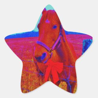 El navidad de Brown coloreó el caballo: añada el Pegatina En Forma De Estrella