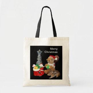 El navidad de Chimunk, ardilla, シマリスのクリスマス Bolsa Tela Barata