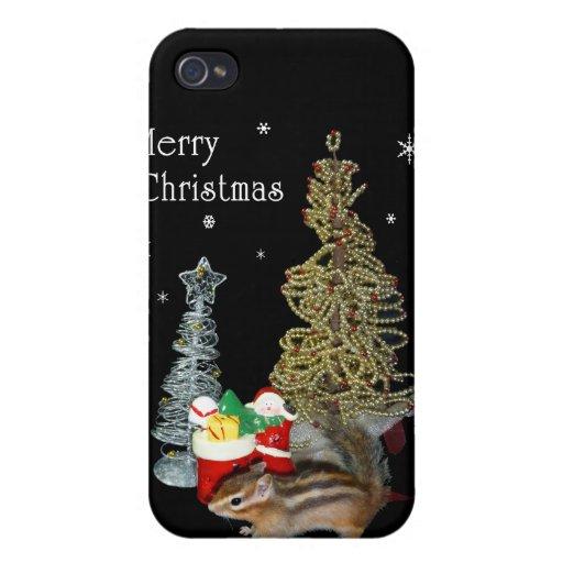 El navidad de Chimunk, ardilla, シマリスのクリスマス iPhone 4 Fundas