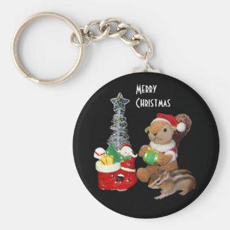 El navidad de Chimunk, ardilla, シマリスのクリスマス Llavero Redondo Tipo Pin