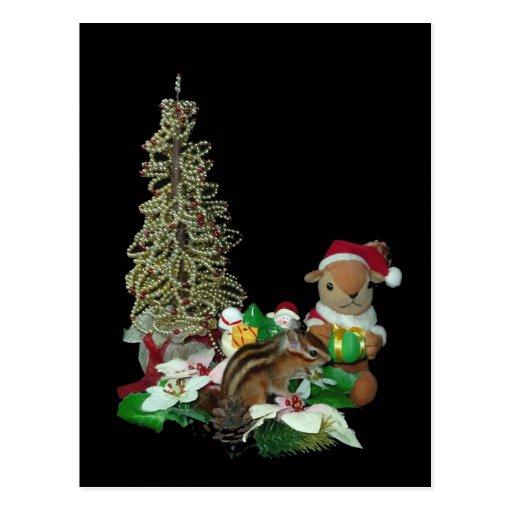 El navidad de Chimunk, ardilla, シマリスのクリスマス Postales