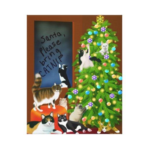 El navidad de la familia de gato envolvió la lona lona estirada galerias