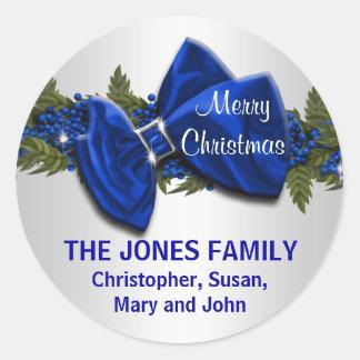 El navidad de la familia que saluda los sellos pegatina redonda