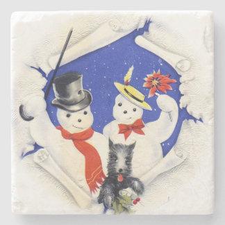 El navidad de la familia y del perro de la nieve posavasos de piedra