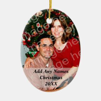 El navidad de la foto o el otro ornamento del día adorno ovalado de cerámica