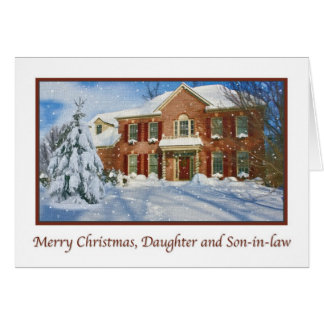 El navidad de la hija, escena casera Nevado Tarjeta De Felicitación