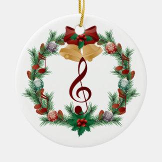 El navidad de la música enrruella el regalo del adorno navideño redondo de cerámica