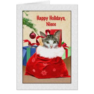 El navidad de la sobrina, gato debajo del árbol tarjeta de felicitación