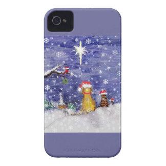 El navidad de los animales que pinta el pájaro del iPhone 4 carcasa