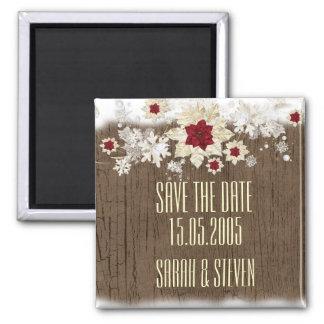 El navidad de madera de la nieve ahorra la fecha imán cuadrado