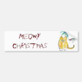 El navidad de Meowy ronronea el gatito Etiqueta De Parachoque