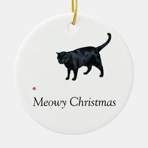 El navidad de Meowy y un feliz maúllan ornamento d Adornos De Navidad