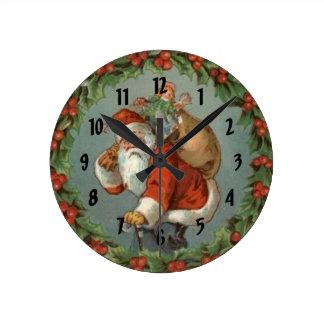 El navidad de Santa del vintage numeró el reloj de