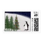 El navidad de un pingüino sello
