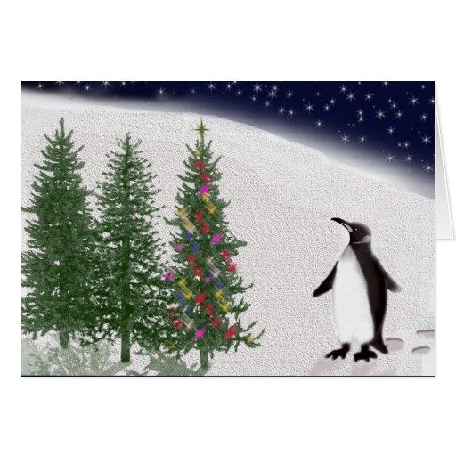 El navidad de un pingüino tarjetas